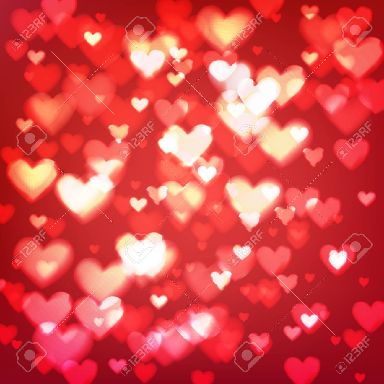 abstract romantic red background with hearts and bokeh lights st valentines day wallpaper blurred gl