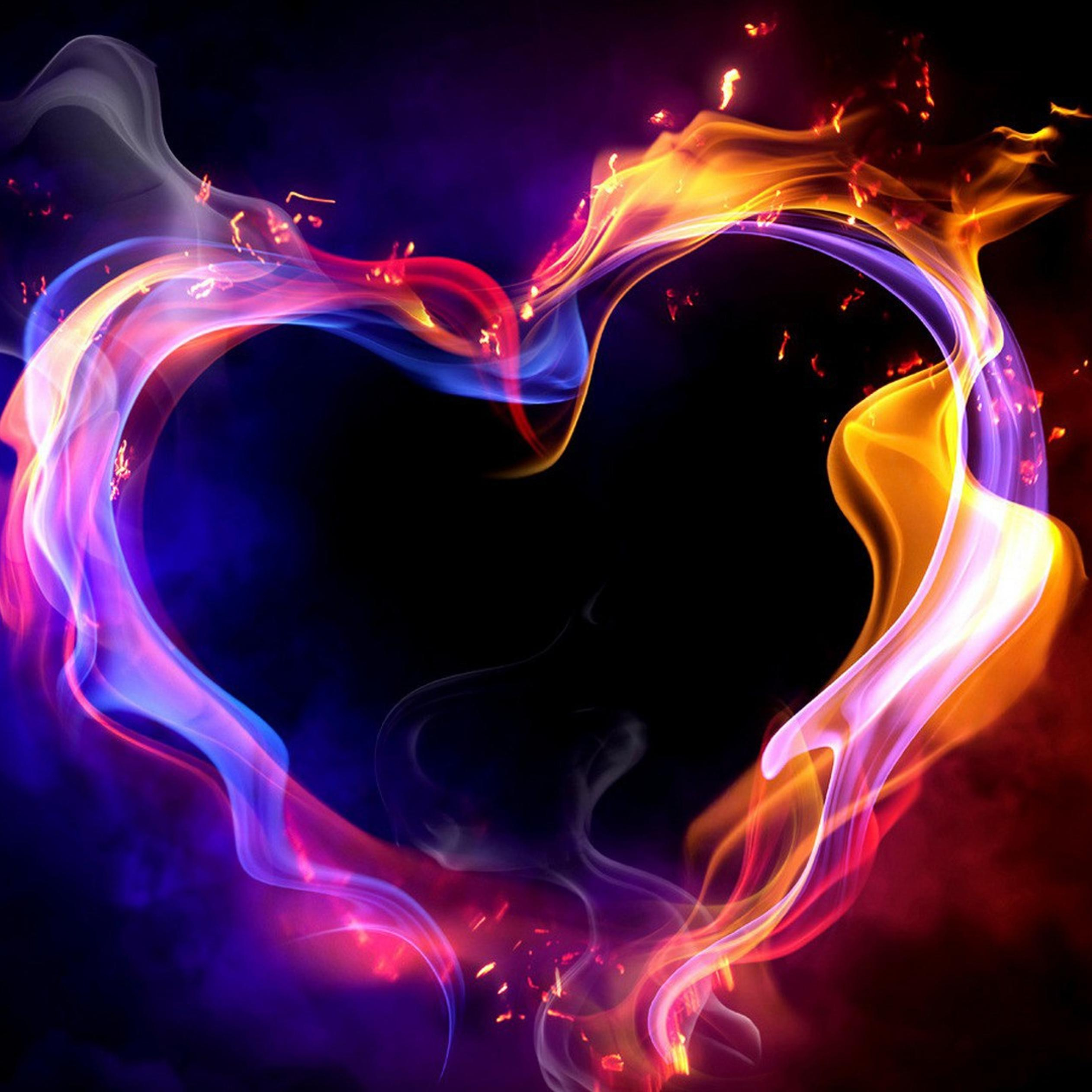heart on fire beautiful hd valentines day wallpaper 2524x2524