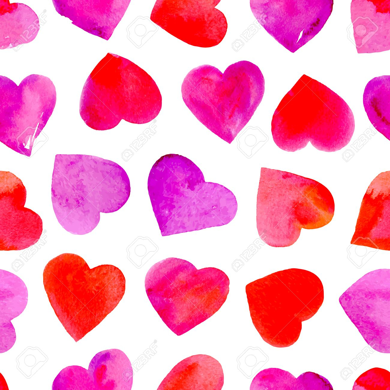 photo stock vector seamless pattern with watercolor hearts valentine day wallpaper vector illustration