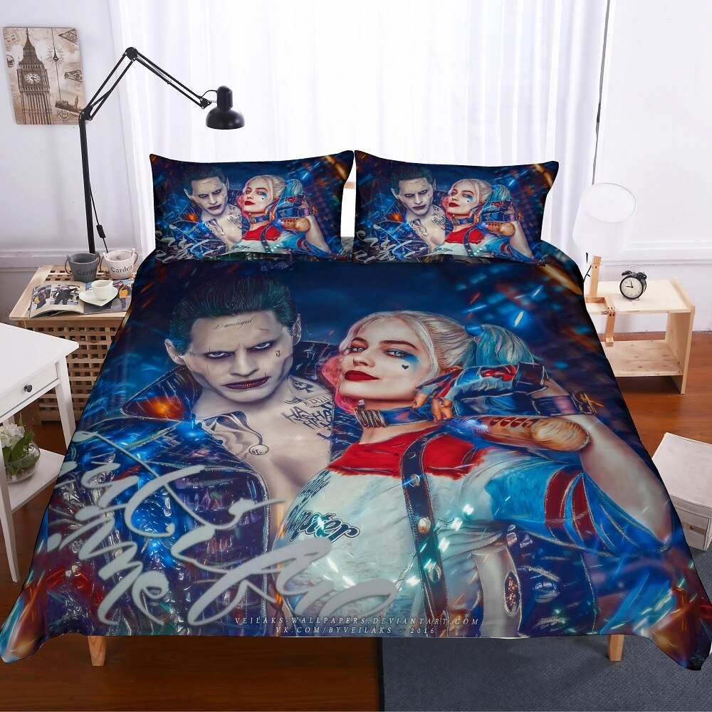 Joker and Harley Quinn forter Set Couples Home Bed Cover Anime Movies Series Single Double Bed