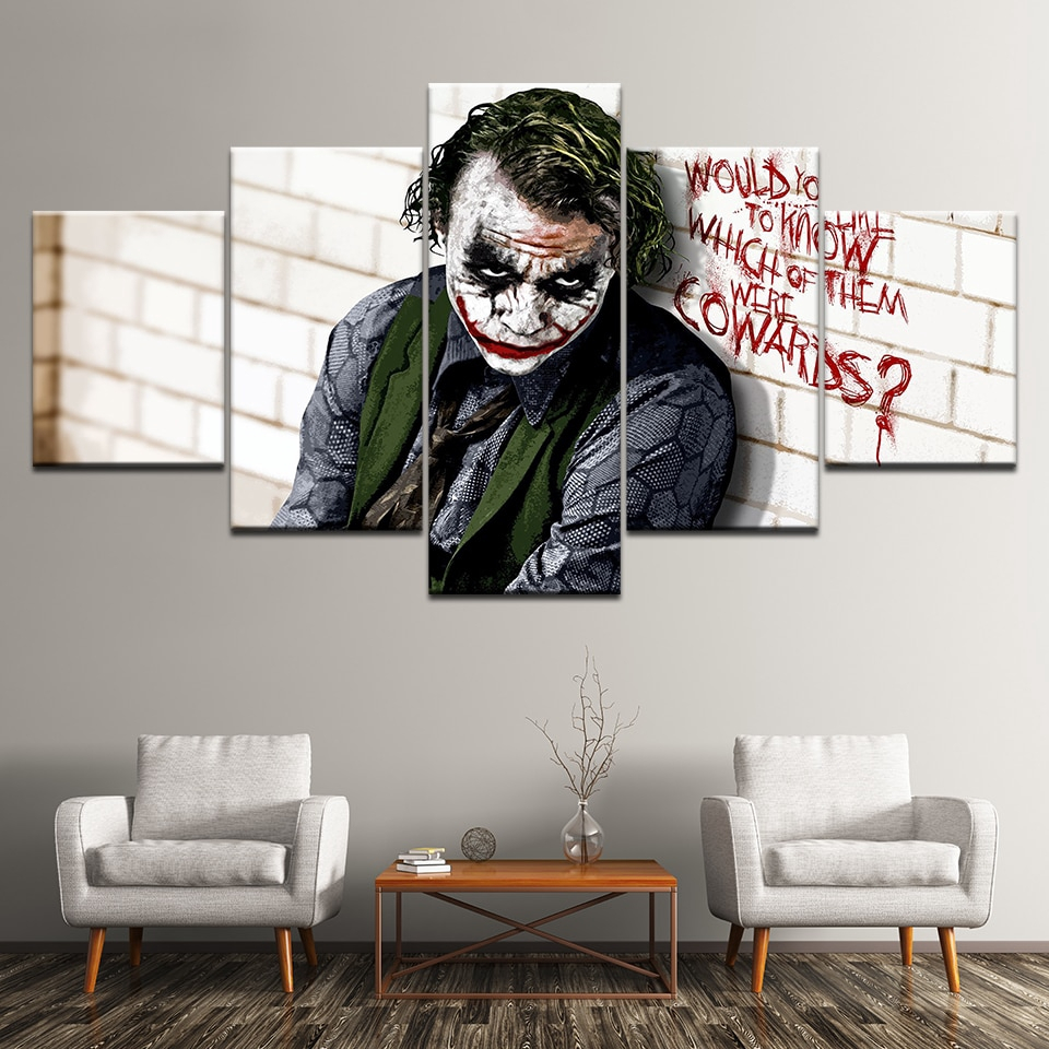 Canvas Painting Batman Joker Dark Knight 5 Pieces Wall Art Painting Modular Wallpapers Poster Print for living room Home Decor i