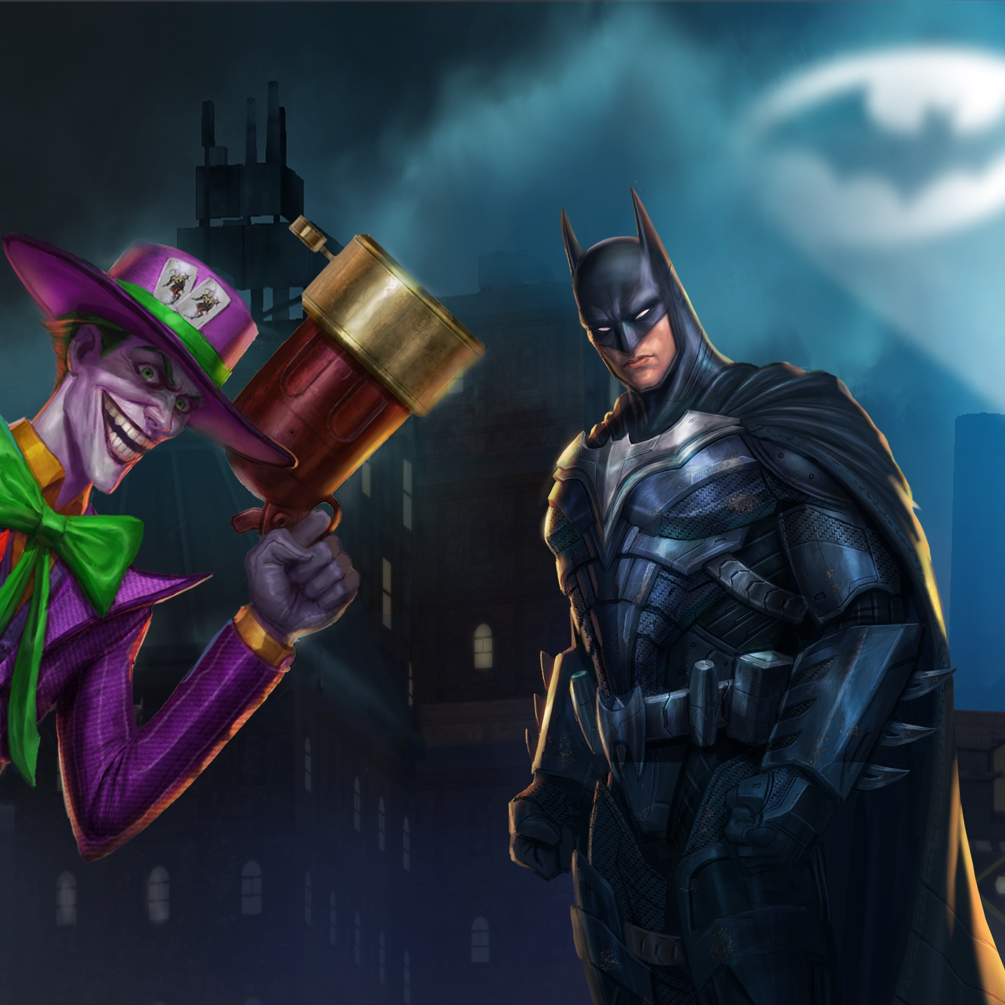batman and joker 4k art
