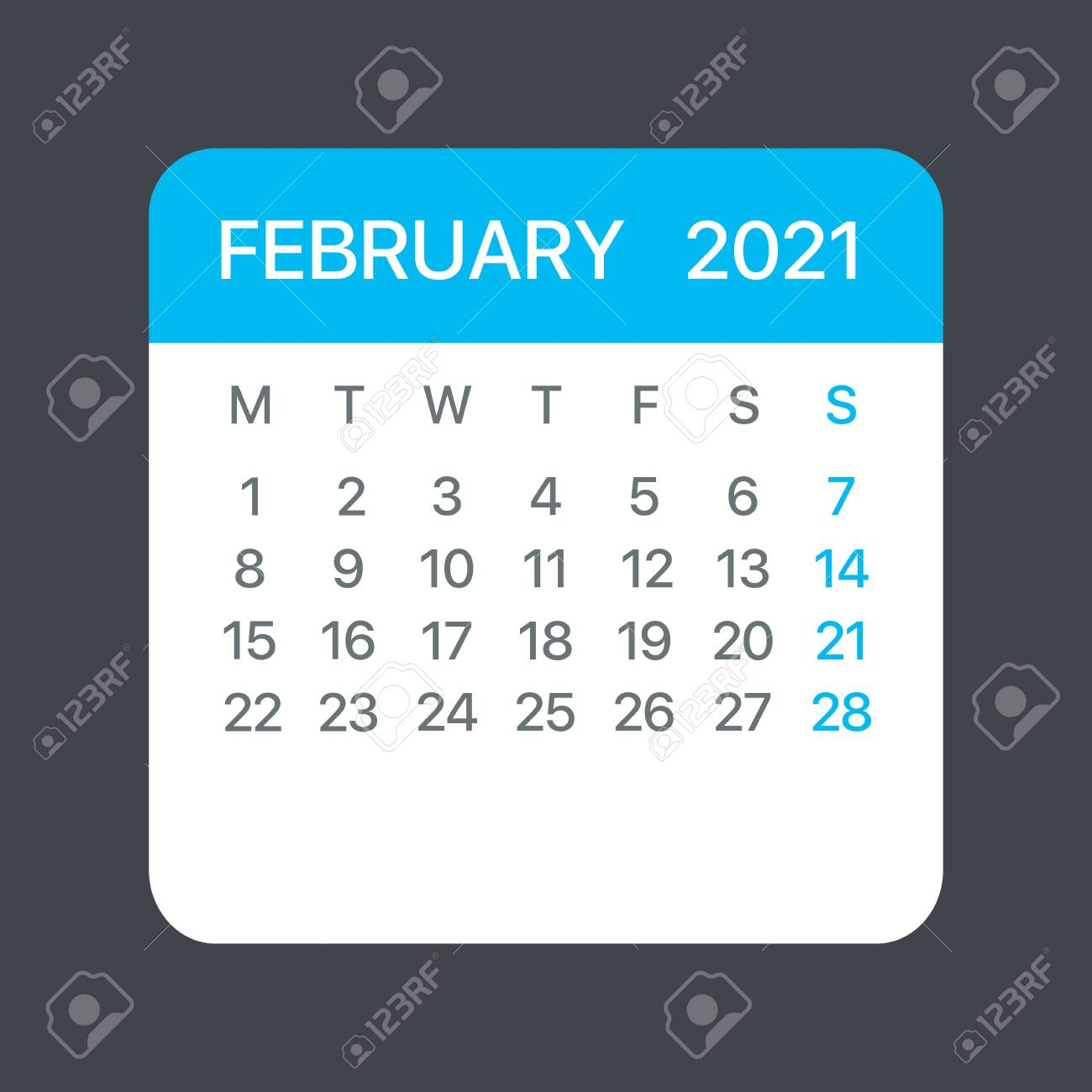 photo stock vector february 2021 calendar leaf illustration vector graphic page