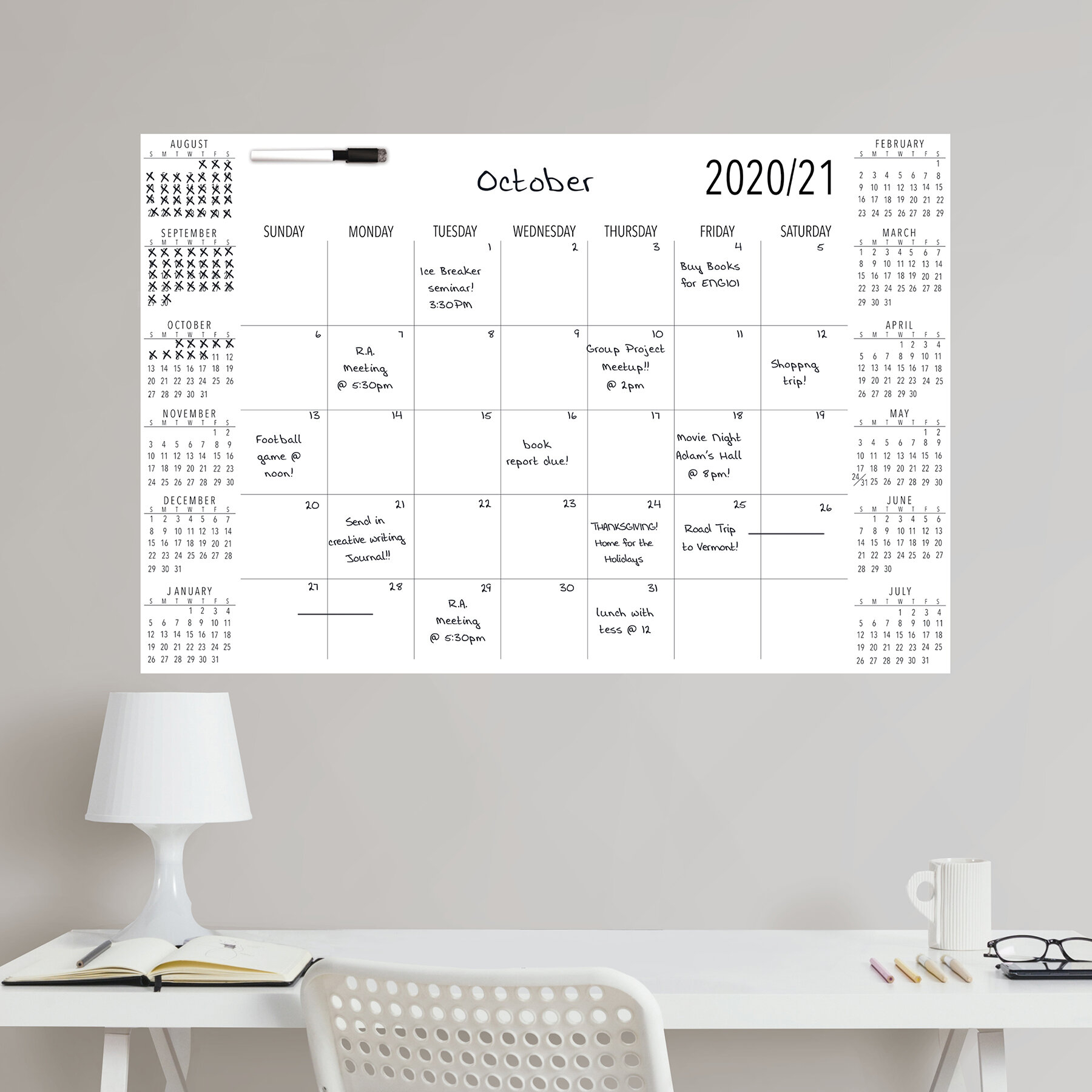 inbox zero academic 2020 2021 calendar and organizer decal w