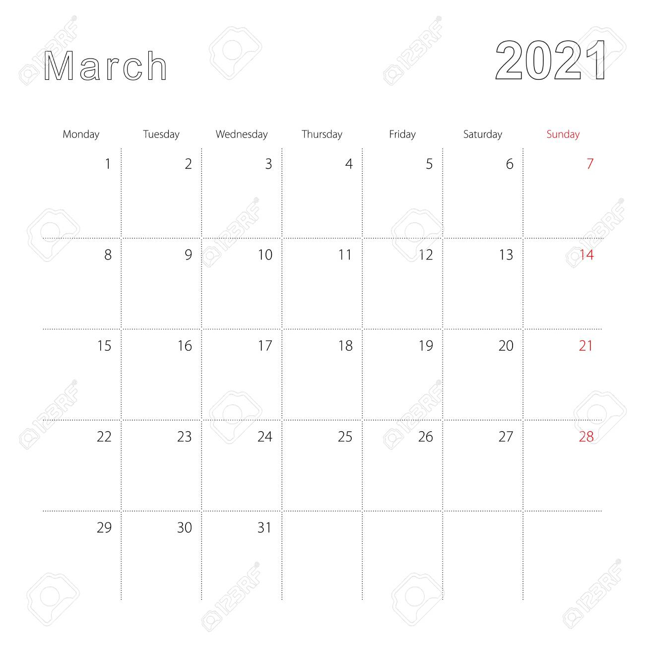 photo stock vector simple wall calendar for march 2021 with dotted lines the calendar is in english week start from mon