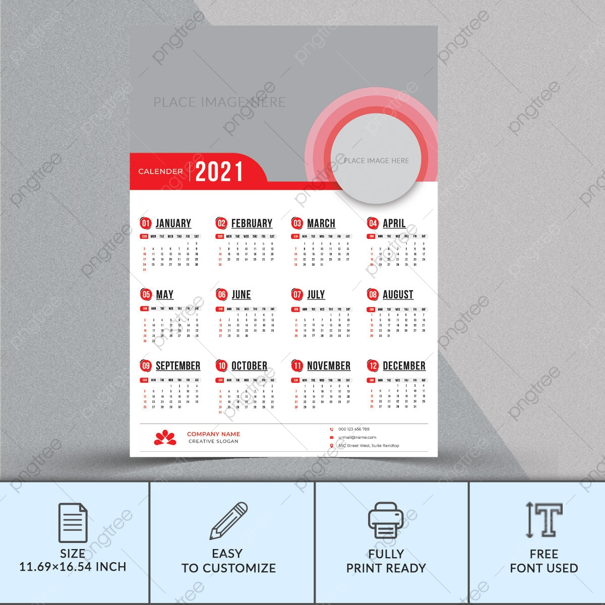 pngtree 2021 wall calendar template design png image