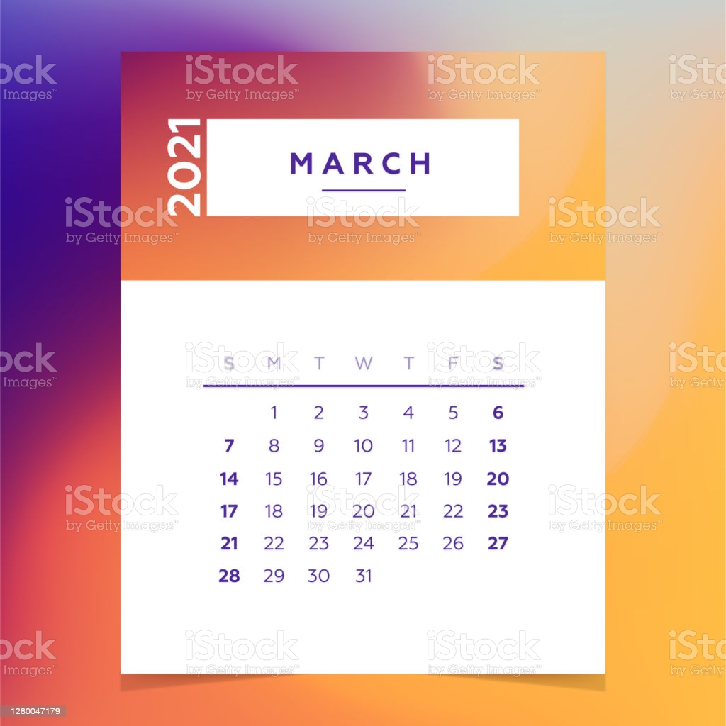calendar planner 2021 march month colorful vector template gm