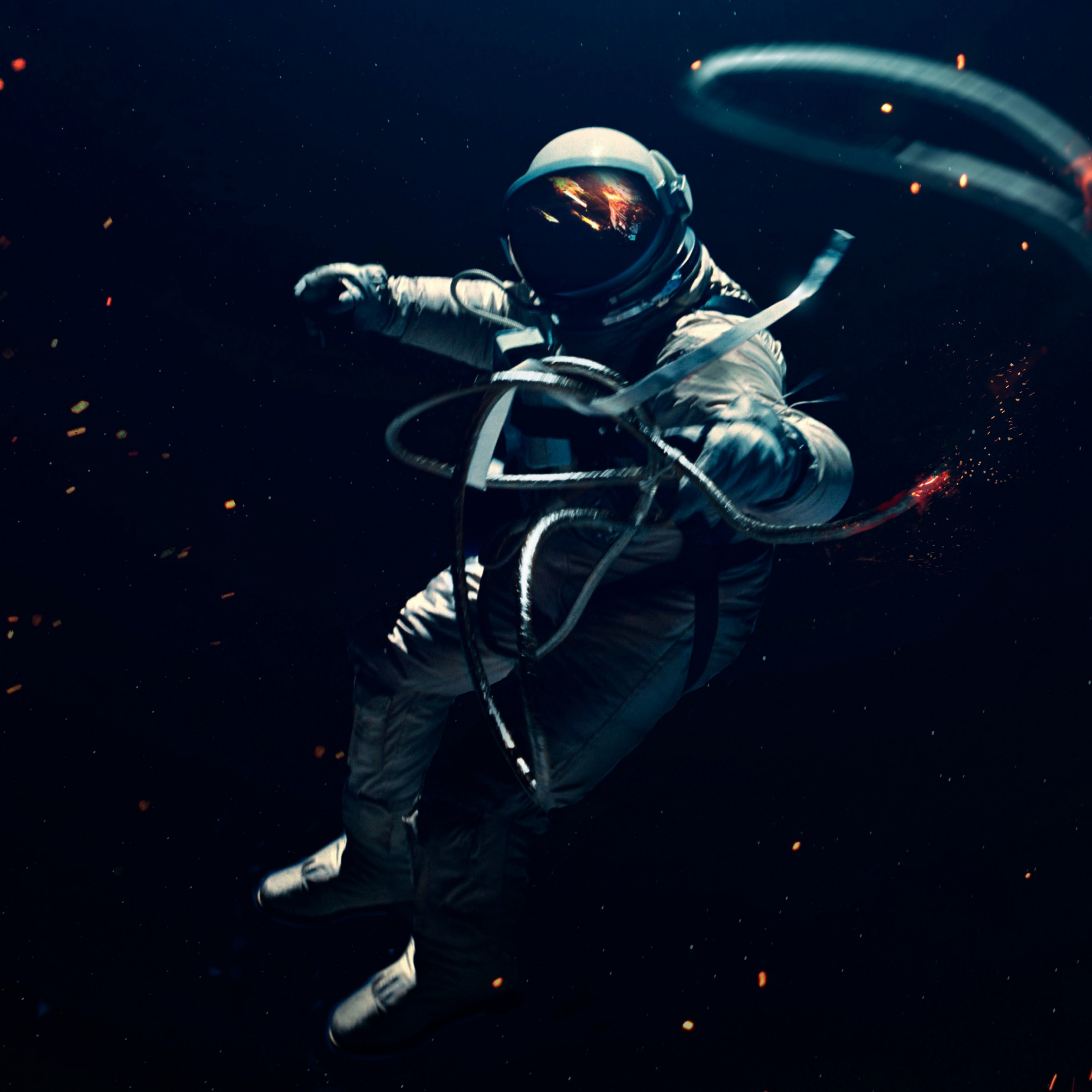 astronaut space suit dark background lost in space space 2732x2732 2460