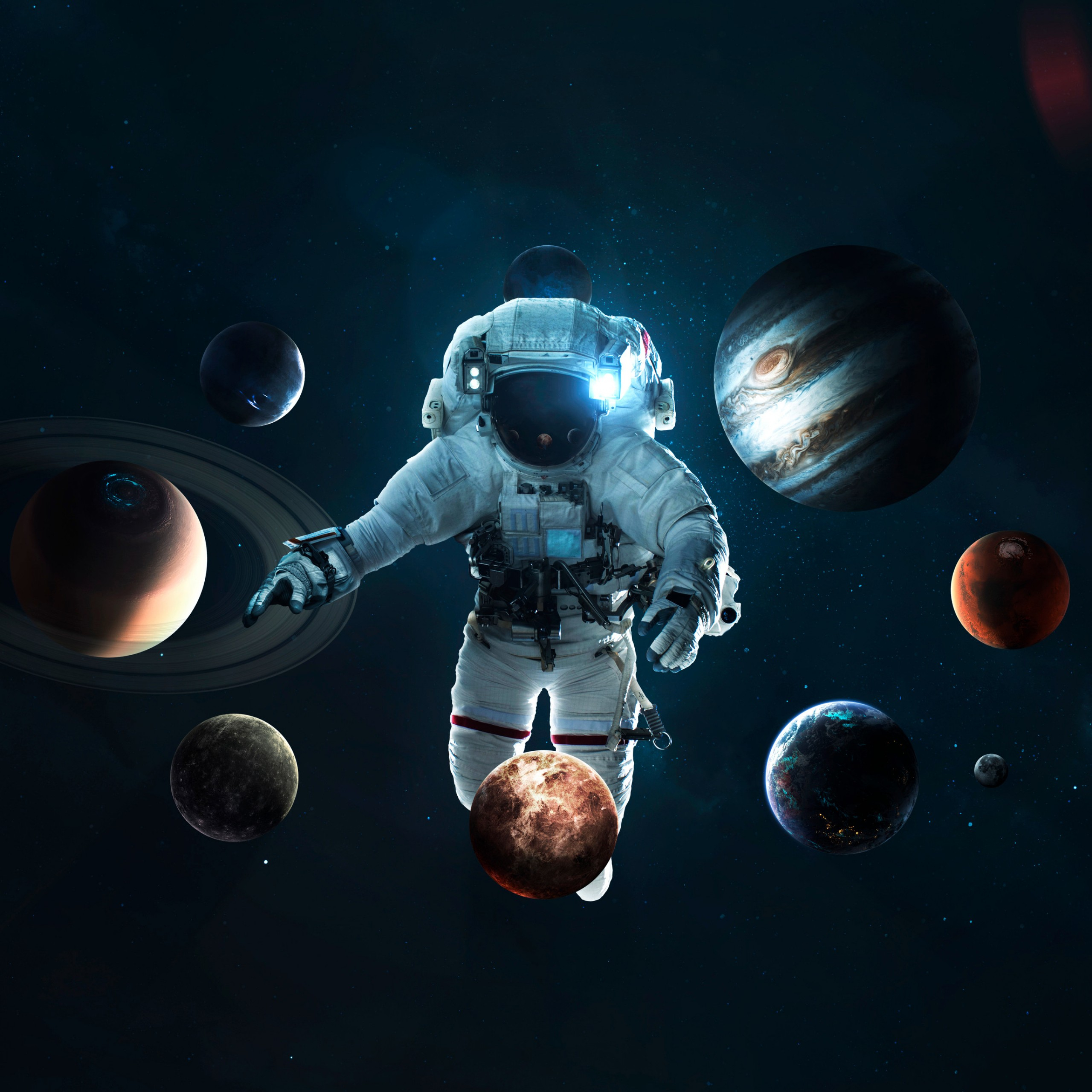 astronaut planetary system space suit space travel stars 2560x2560 2465
