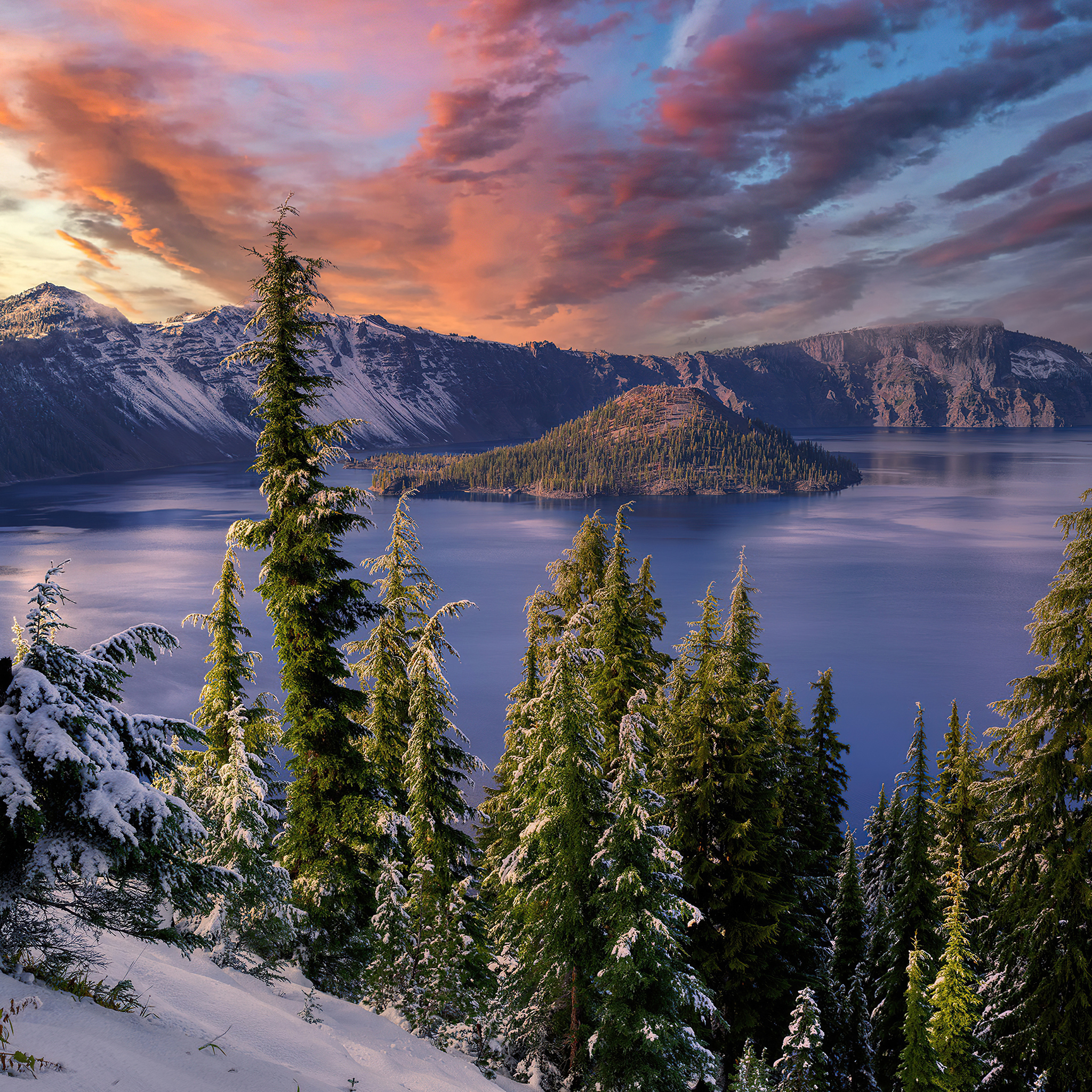 winter snow trees mountains landscape hdr 4k