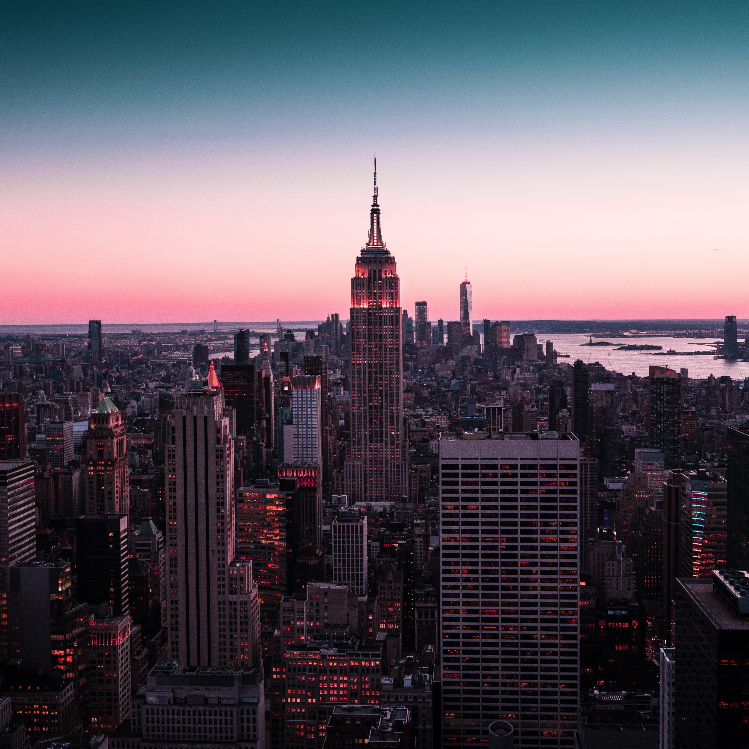empire state building new york city cityscape sunset city 2560x2560 1715