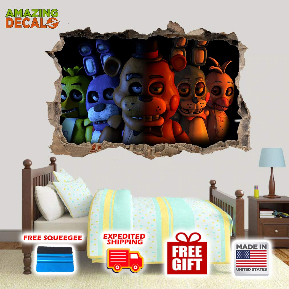 amazing decalz five nights at freddys closeup graphic broken wall 3 d sticker decal removable mural decor art wallpaper baby kids children nursery living room peel stick vinyl m h 16 5 x 25 w