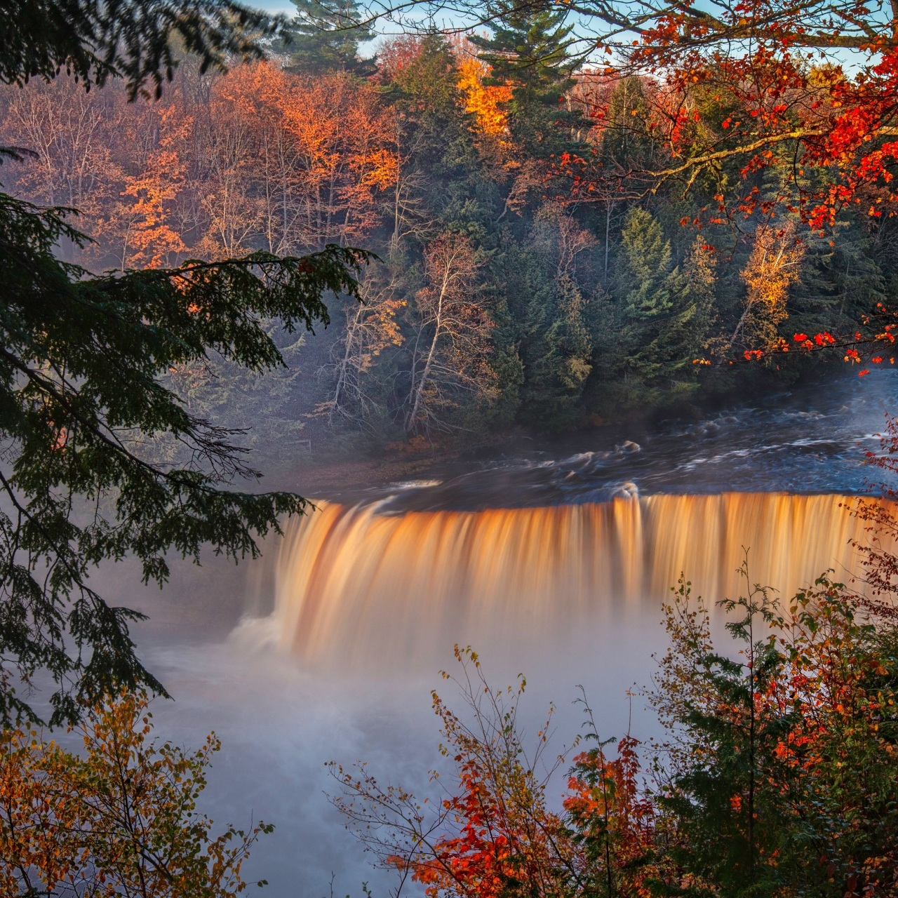 autumn waterfall forest fall 4k