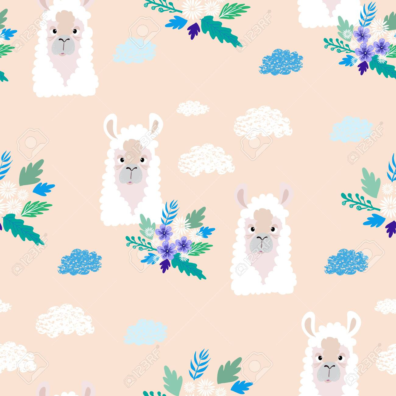 photo stock vector awesome hand drawn seamless pattern with cute lama in cartoon style perfect for cards wallpaper tex