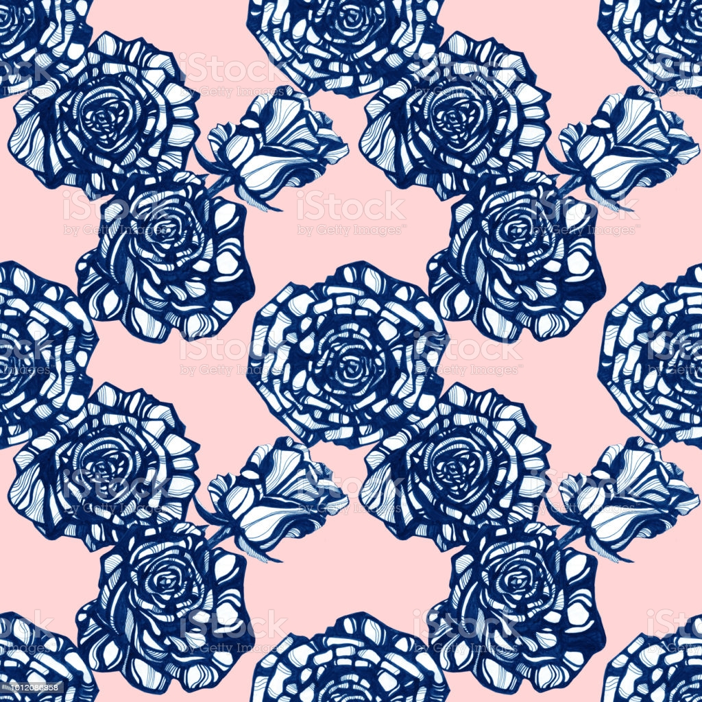 awesome rose flowers hand drawn ink illustration wallpaper or fabric design gm