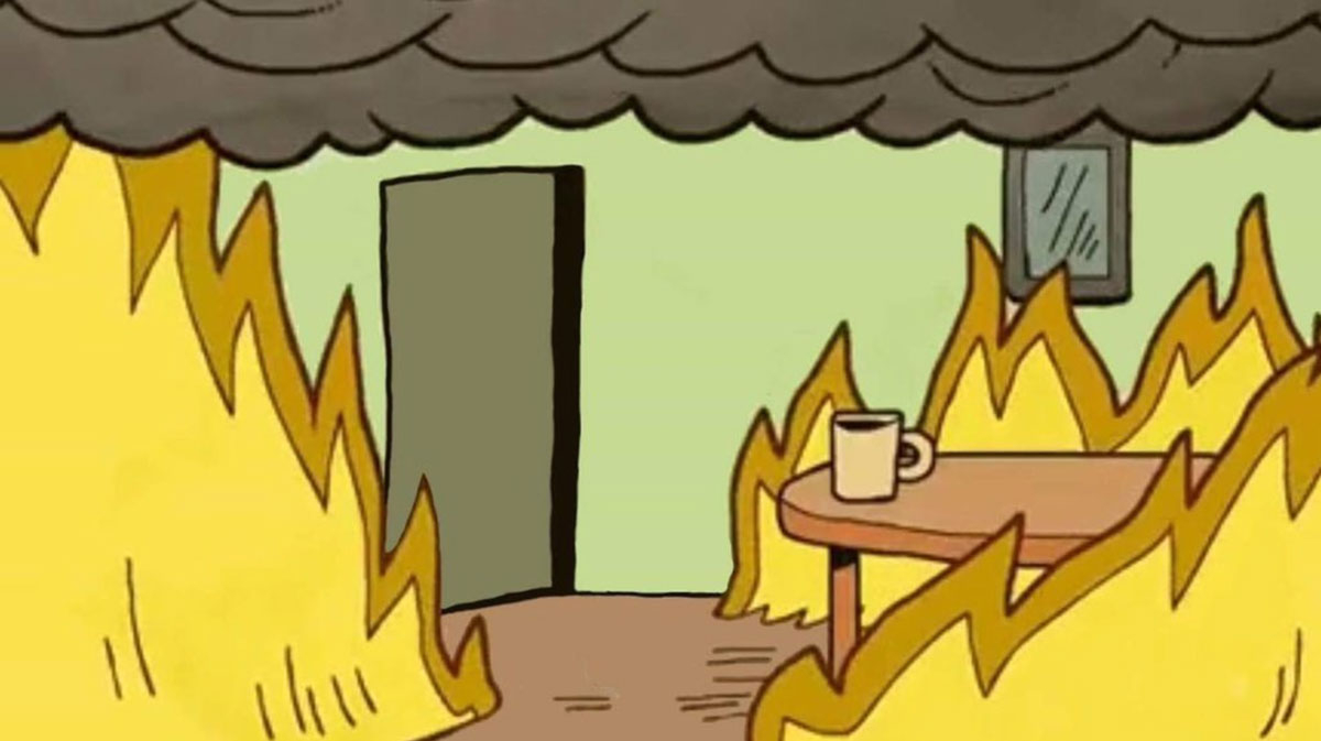This is fine meme zoom background funny