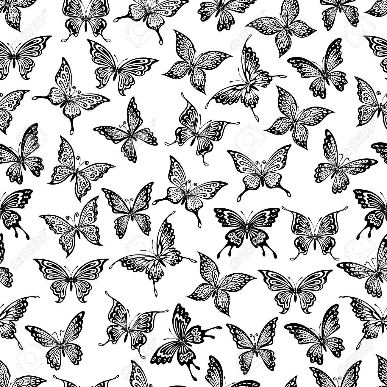 seamless pattern with black flying butterflies on white background for wallpaper or textile design