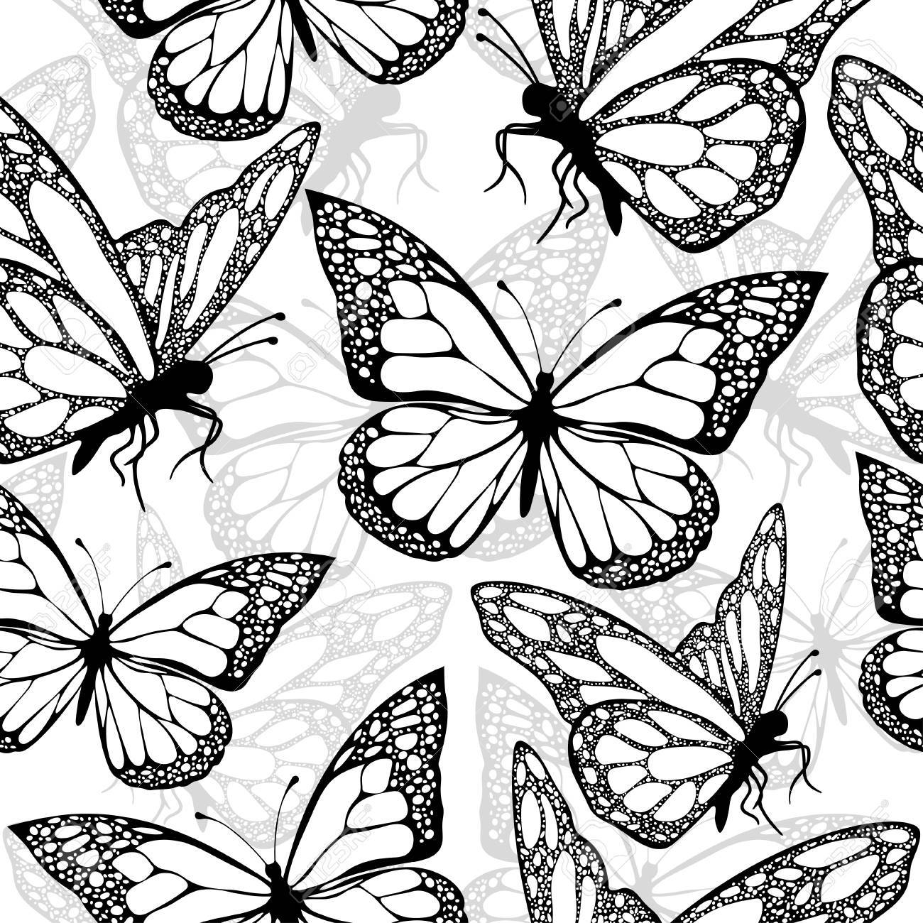 photo stock vector butterflies seamless pattern monochrome coloring book black and white illustration in boho style hip