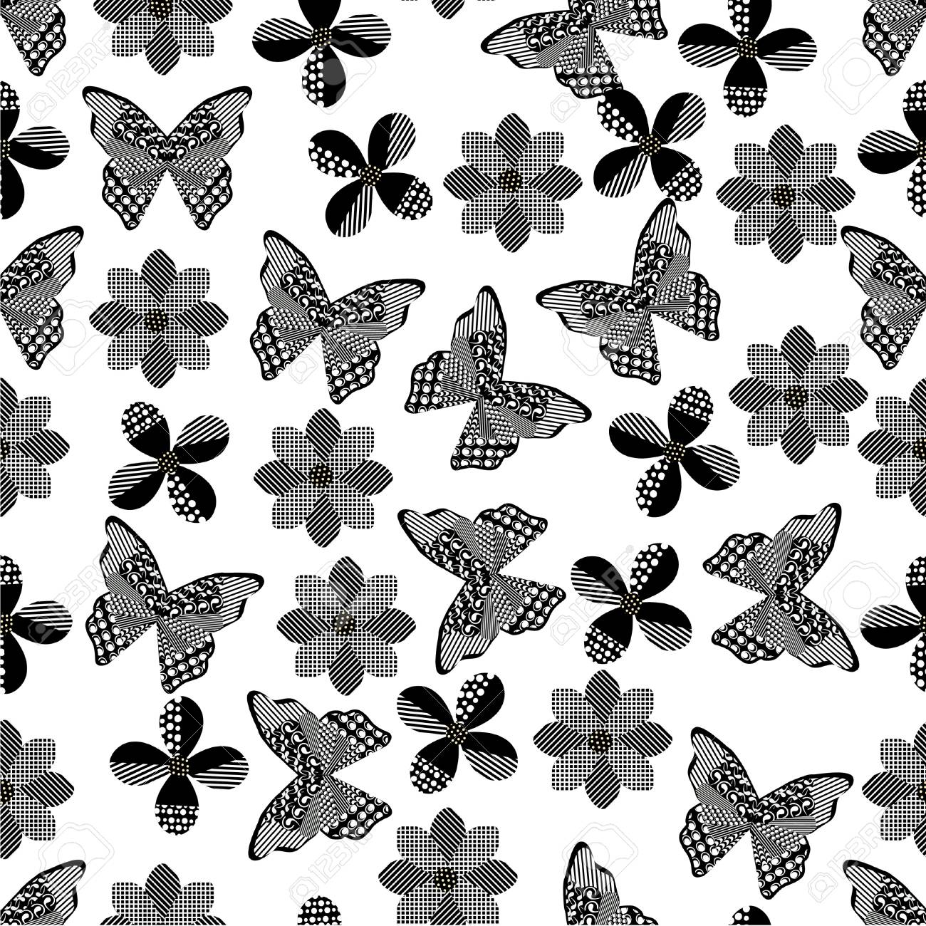 photo stock vector seamless butterfly background with geometric pattern black and white