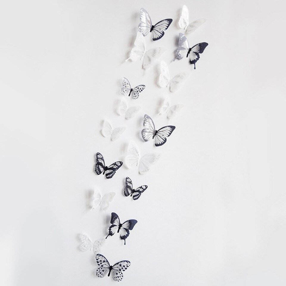 36pcs Black And White 3d Effect Crystal Butterflies Wall Sticker Beautiful Butterfly for Kids Room Wall 960x960