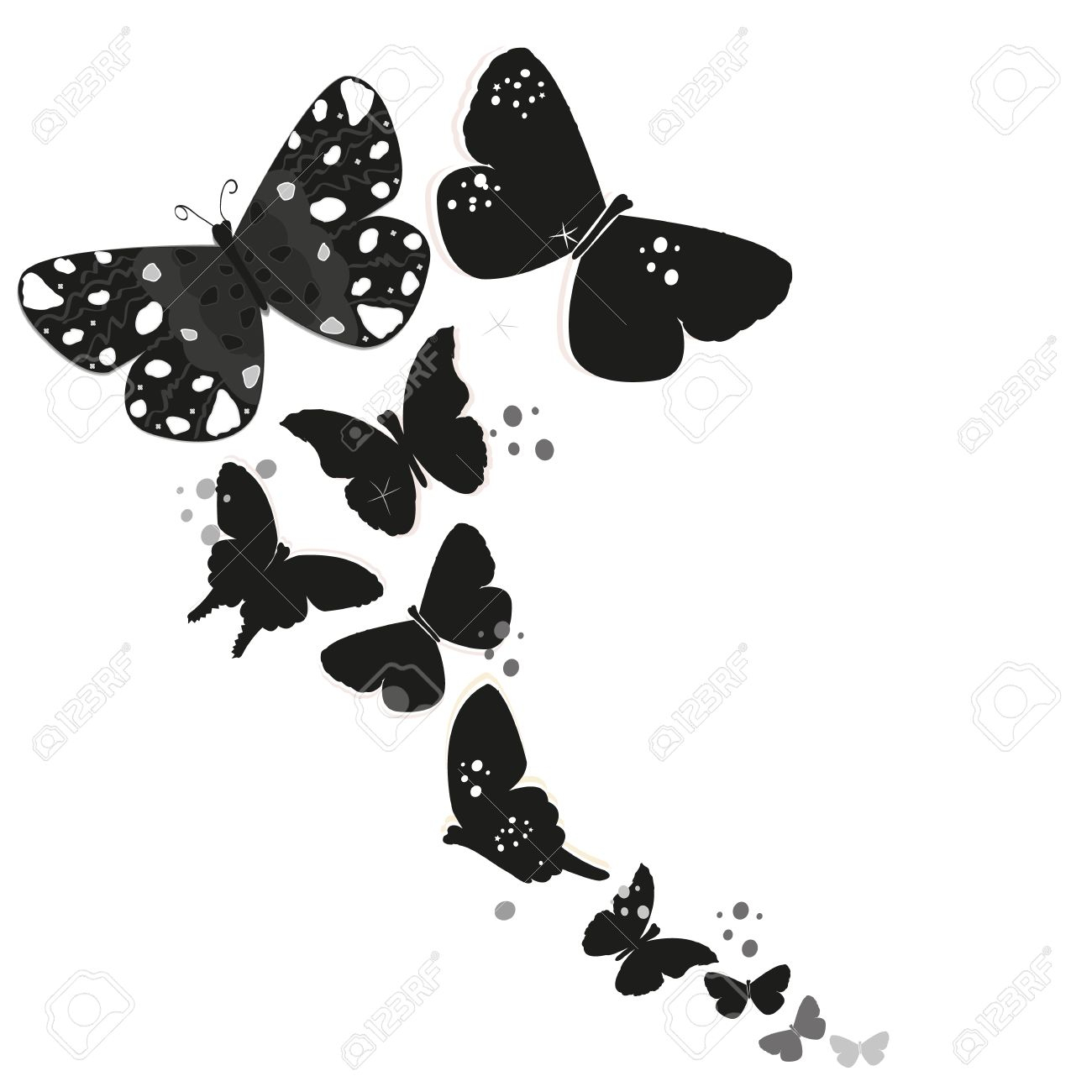 photo stock vector black butterfly design and abstract decorative flowers vector background