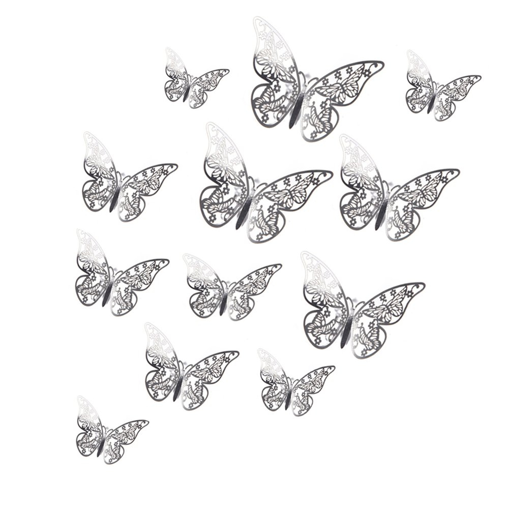 clearance price 12 pcsset wall stickers silvery butterfly wallpaper party wedding decor i