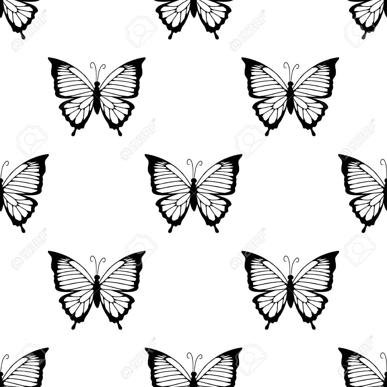 photo stock vector butterfly black silhouettes seamless border pattern isolated in white background vector wallpaper ba