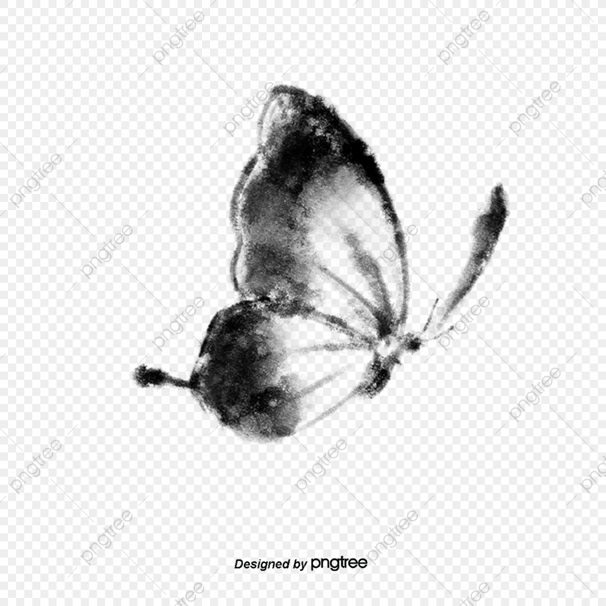 pngtree side flying black and white butterfly elements in ink png image