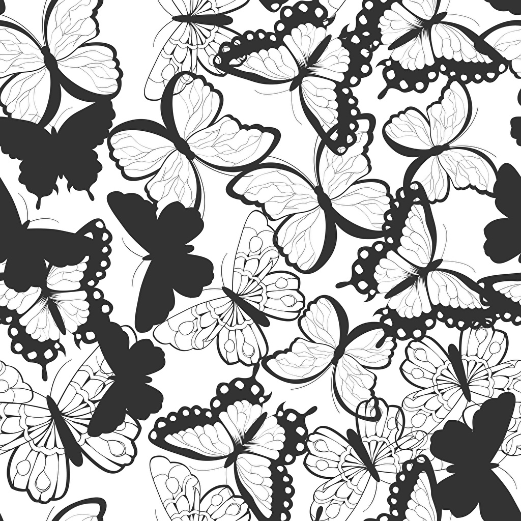 Butterflies Texture Black and white 1024x1024