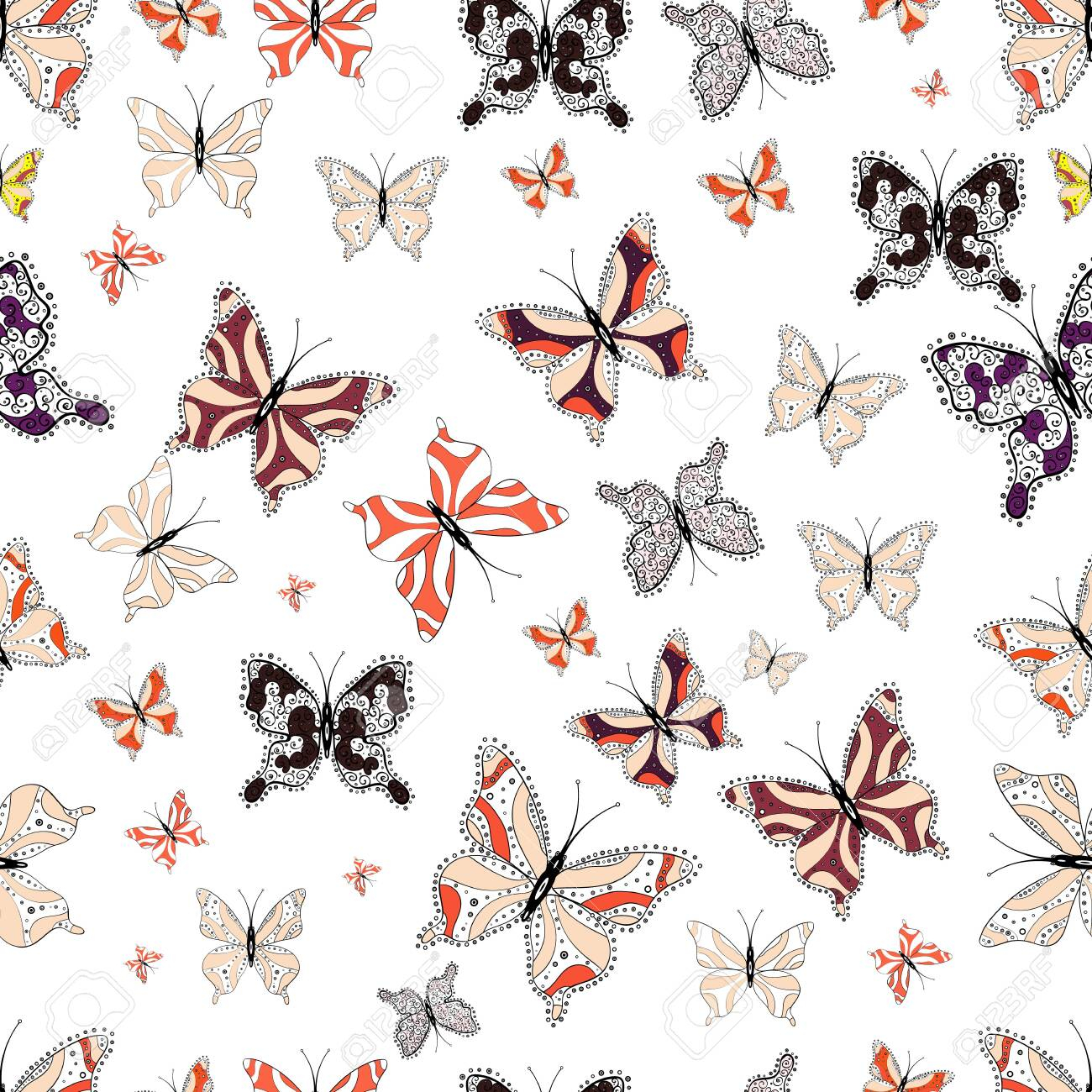 photo stock vector seamless pattern with butterfly on beige black and white background cute background for design of fa