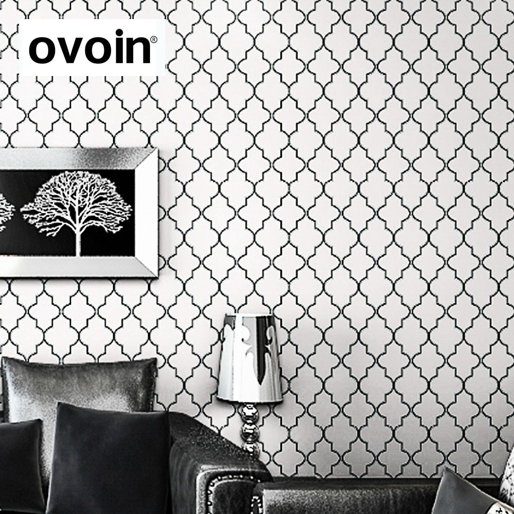 Moroccan Trellis Black White Modern Geometric Pattern Wallpaper Roll Quatrefoil Wall Paper Bedroom Live room Background