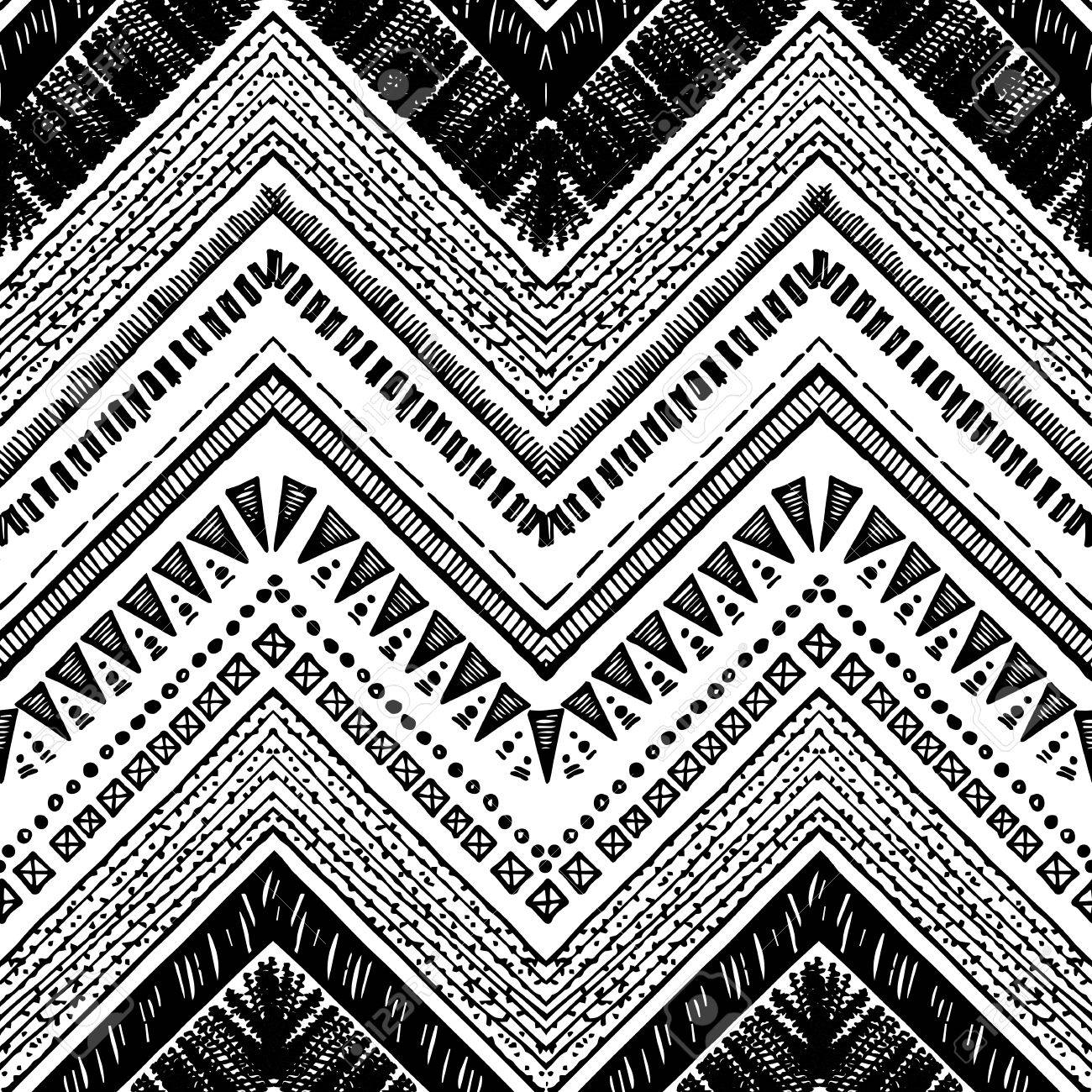 photo stock vector hand drawn tribal pattern black and white colors for textile wallpaper wrapping paper ethnic theme