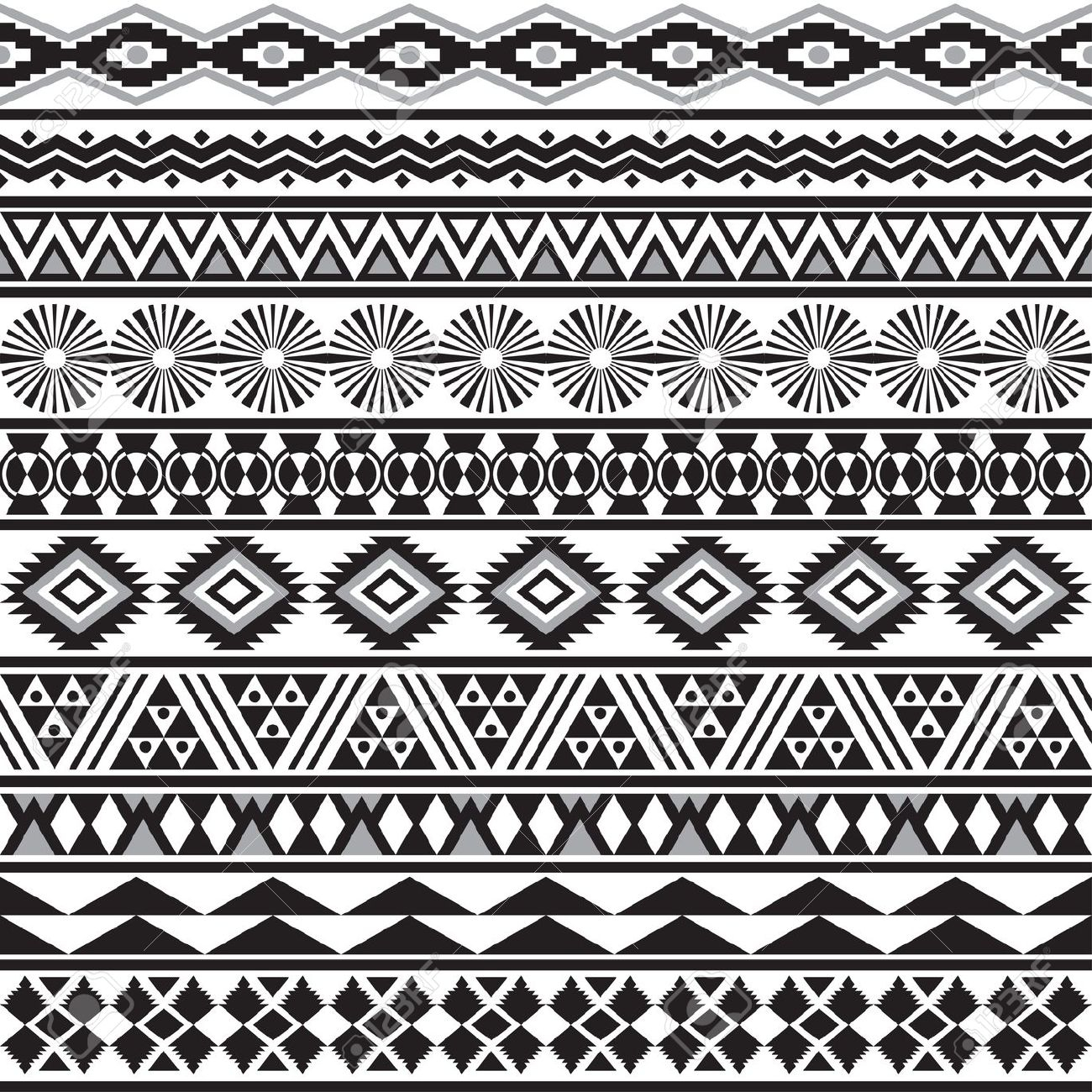 tribal striped seamless pattern geometric black white background swatches of seamless pattern includ stock vector