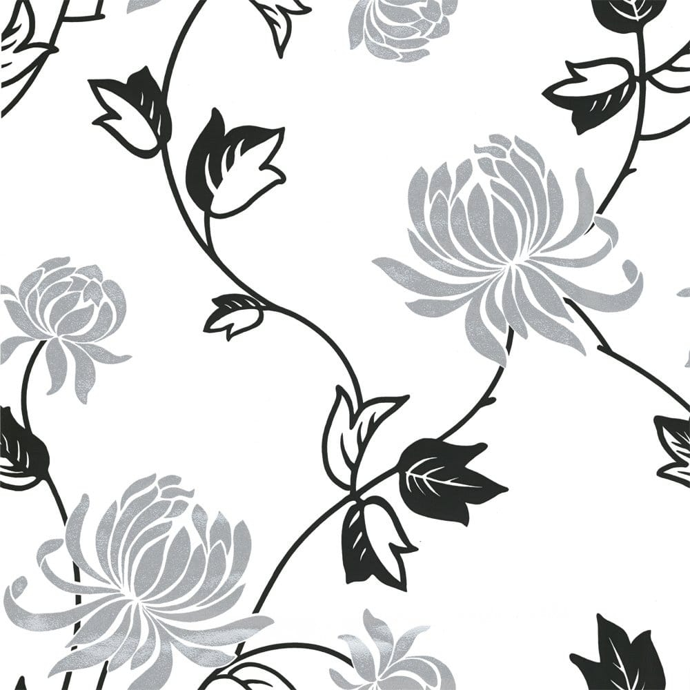 vintage riva motif wallpaper black white silver p1234