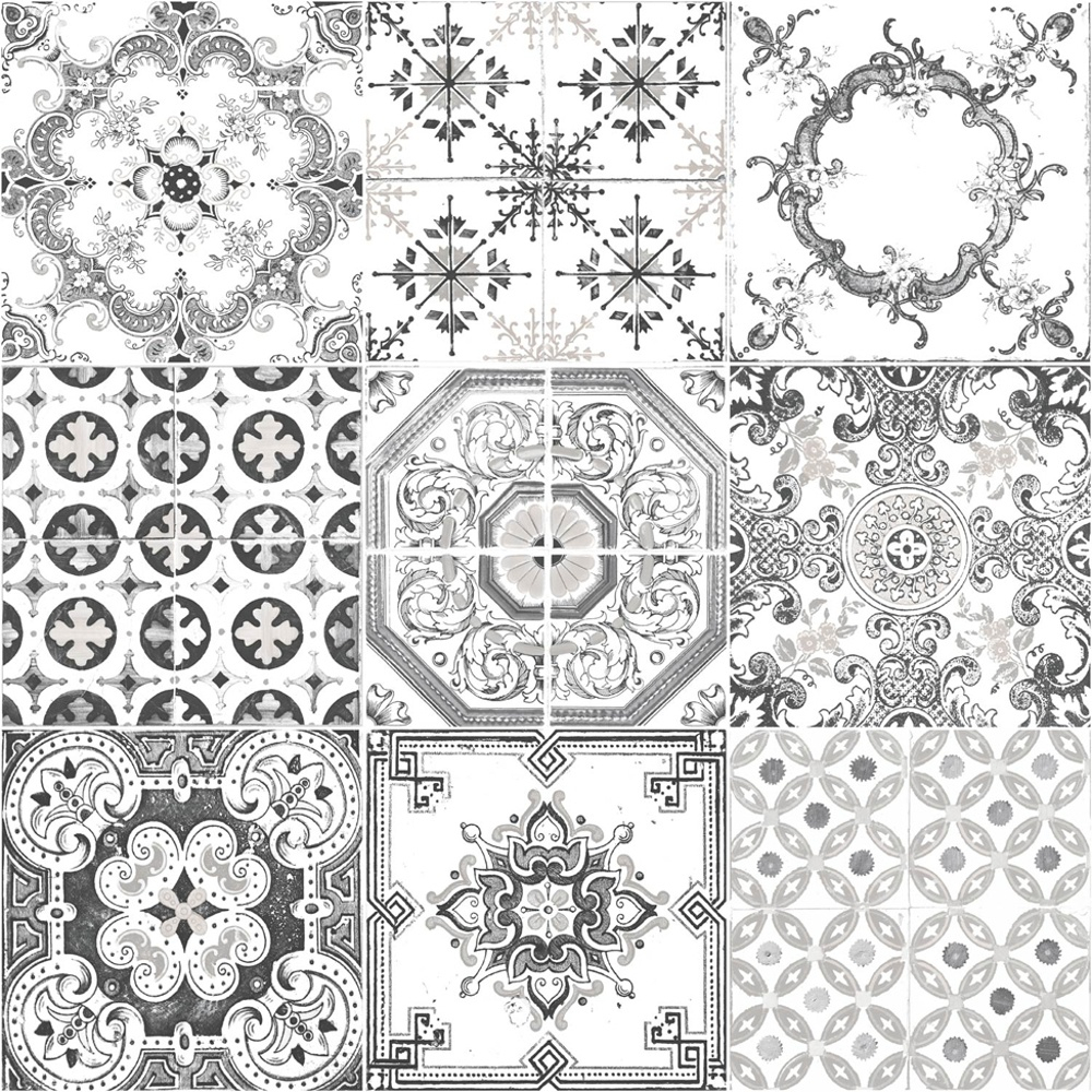 muriva tile pattern retro floral motif kitchen bathroom vinyl black white wallpaper p3268 7361 image
