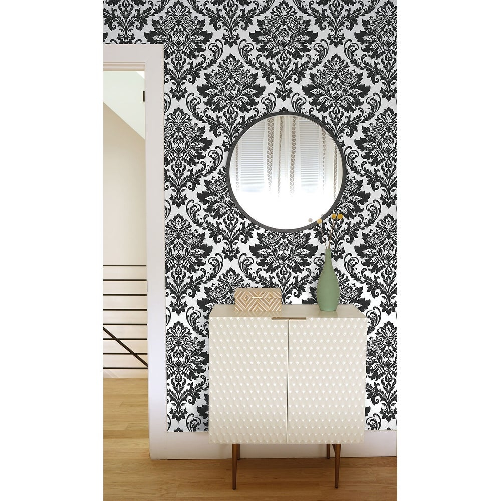 NextWall Black Damask Peel and Stick Removable Wallpaper