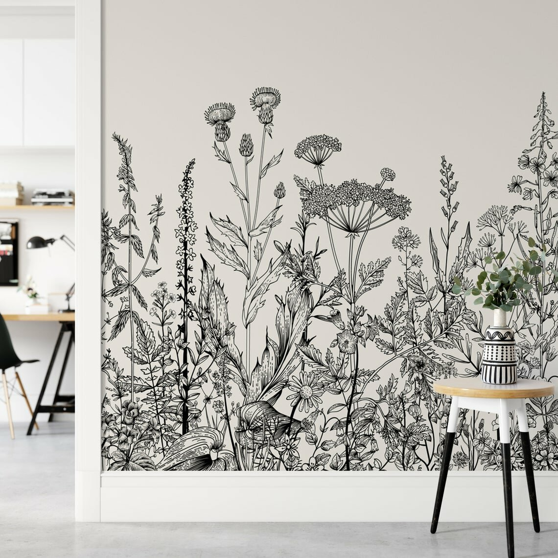 palmer garden plants flowers black and white removable textile wallpaper panel