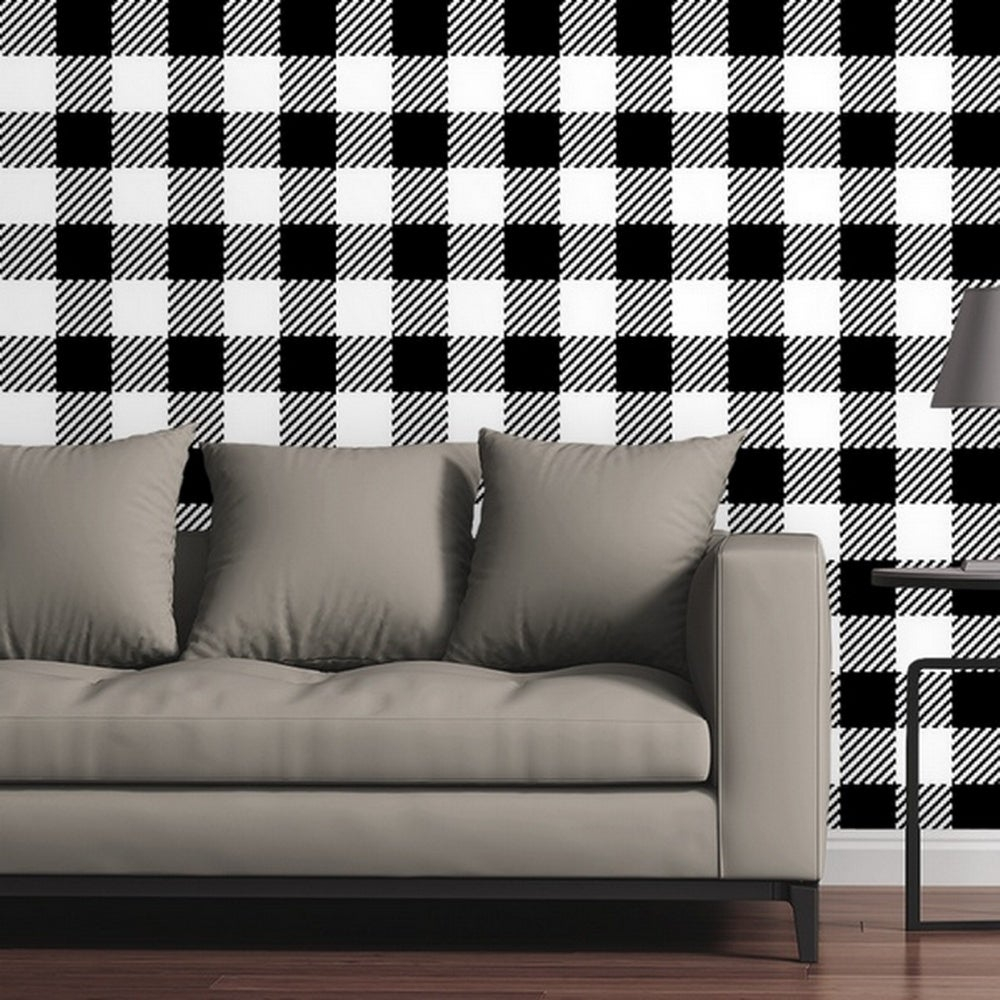 Great Big Canvas Removable Wallpaper Tile Buffalo Plaid Tweed in Black and White