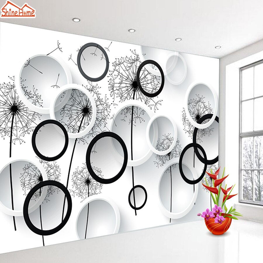 3d Mural Wallpaper Removable Nature Wallpapers for Living Room Black White Dandelion Contact Paper