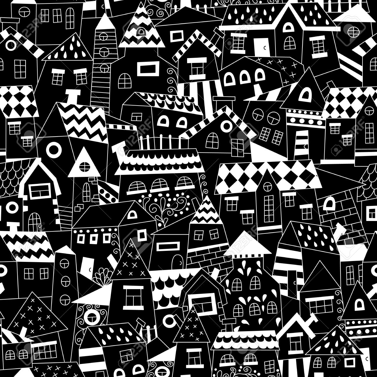 doodle hand drawn town seamless pattern black and white abstract wallpaper vector illustration for y