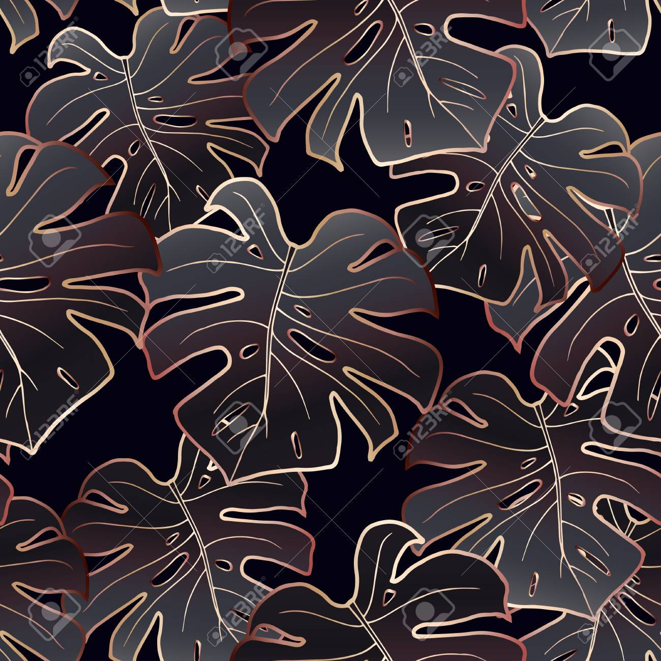seamless pattern monstera leaves in a rose gold outline on a black background vector trendy texture