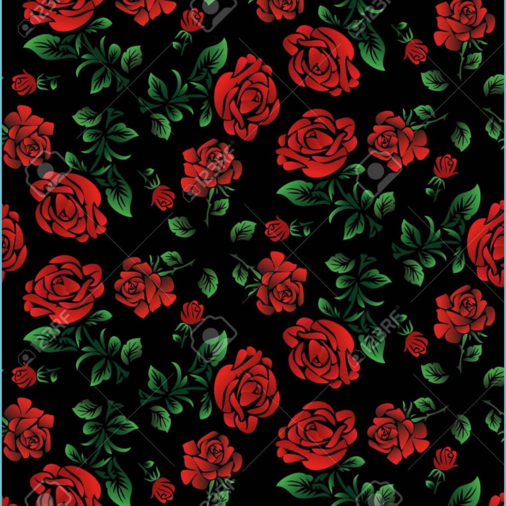 foral pattern wallpaper or textile red roses isolated on black black and red rose wallpaper 1024x1024