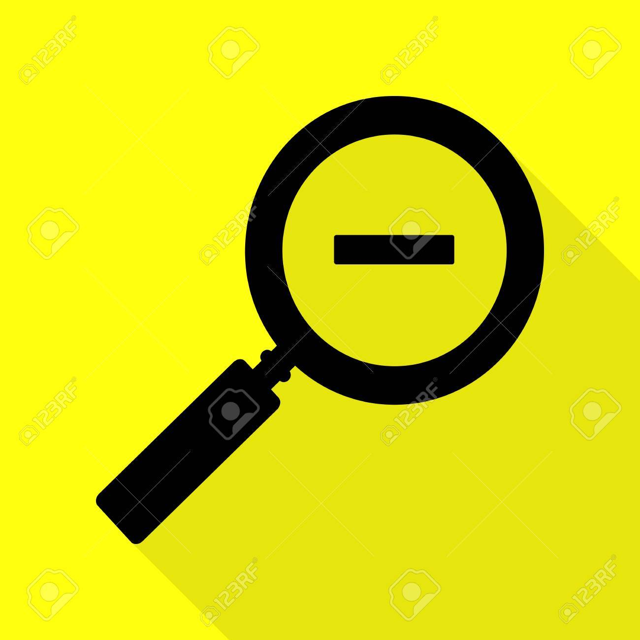 photo stock vector zoom sign illustration black icon with flat style shadow path on yellow background
