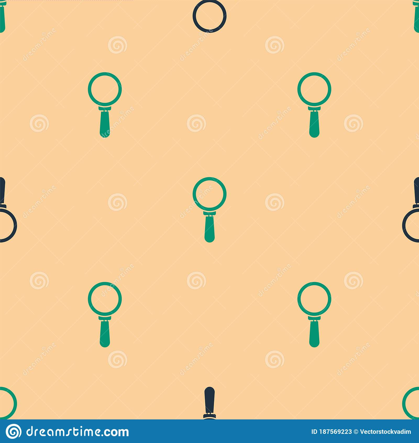 green black magnifying glass icon isolated seamless pattern beige background search focus zoom business symbol vector