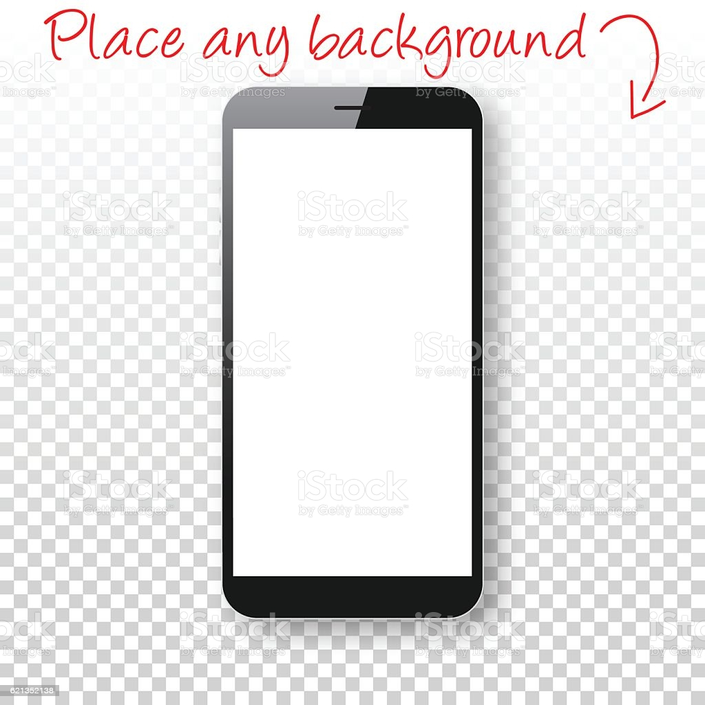 smartphone isolated on blank background mobile phone template vector id