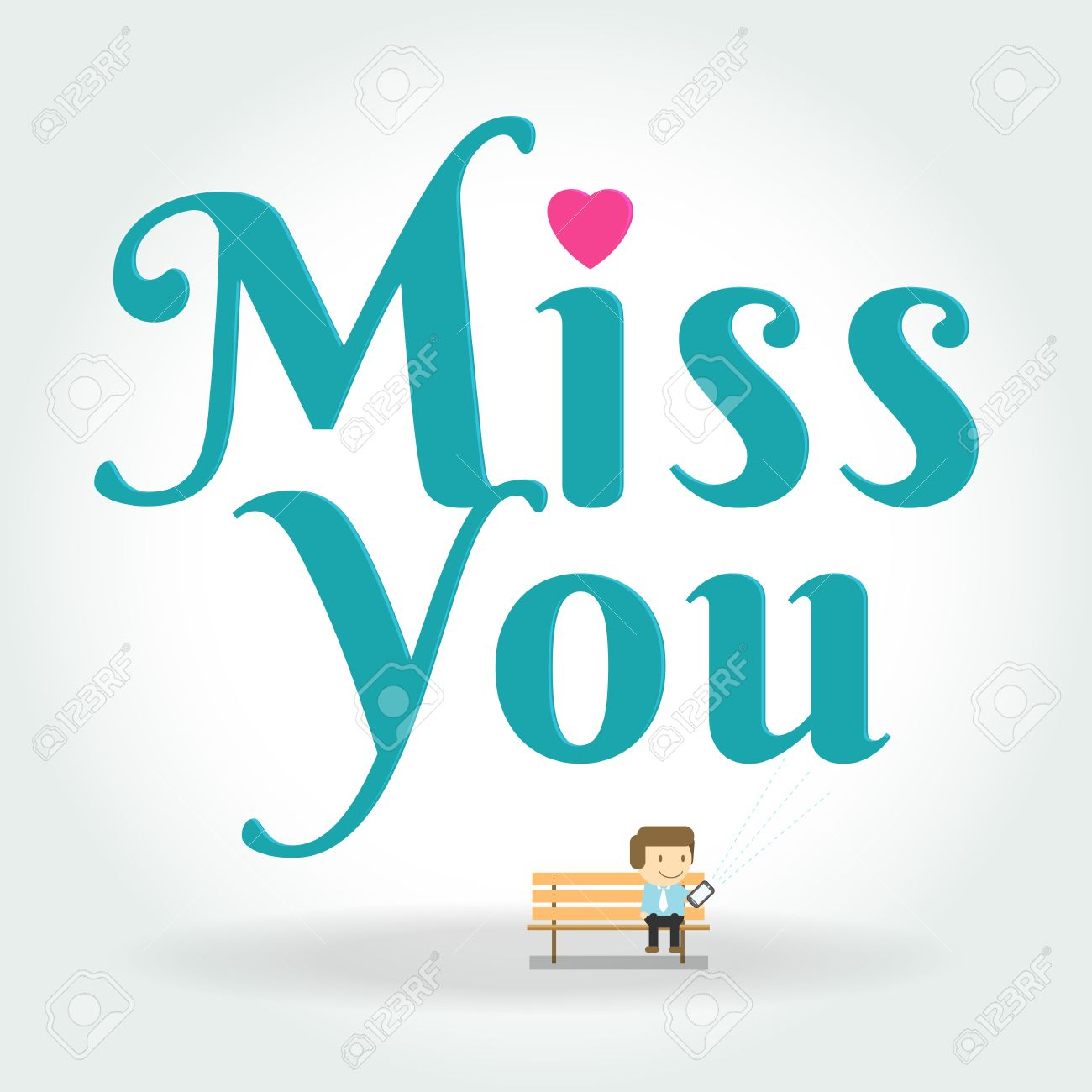 photo stock vector miss you postcard boy writing text message on phone the illustration of young cartoon girl writing m