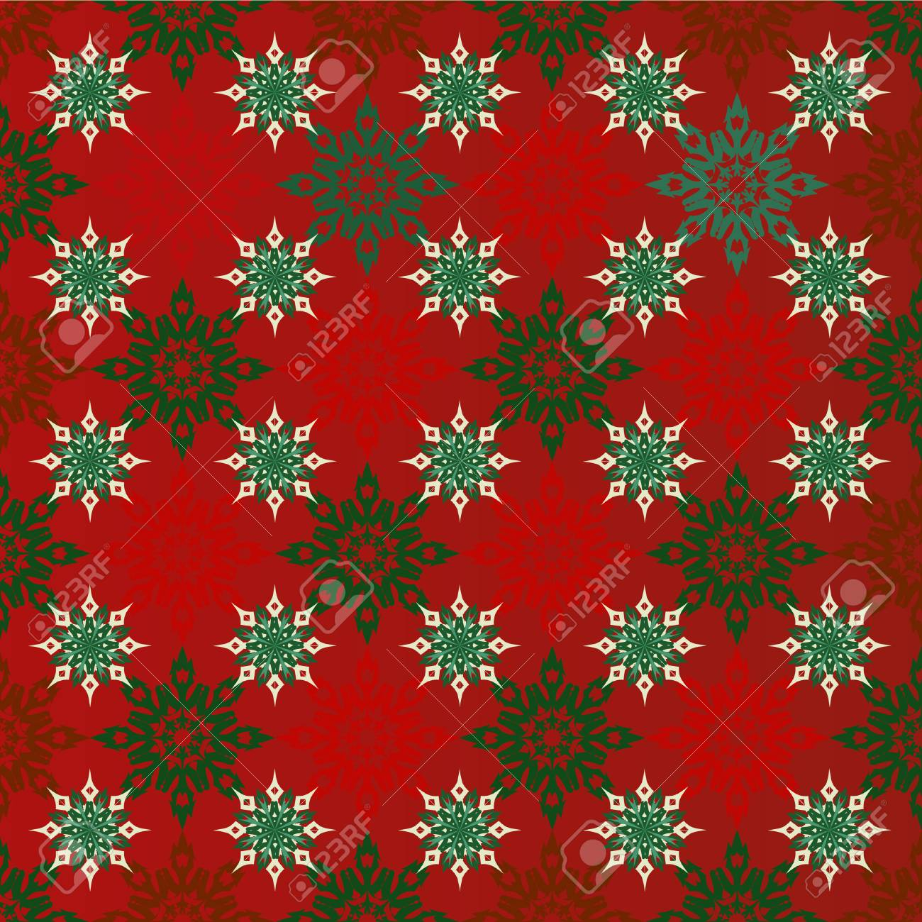 christmas seamless red background with red and green snowflakes wallpaper