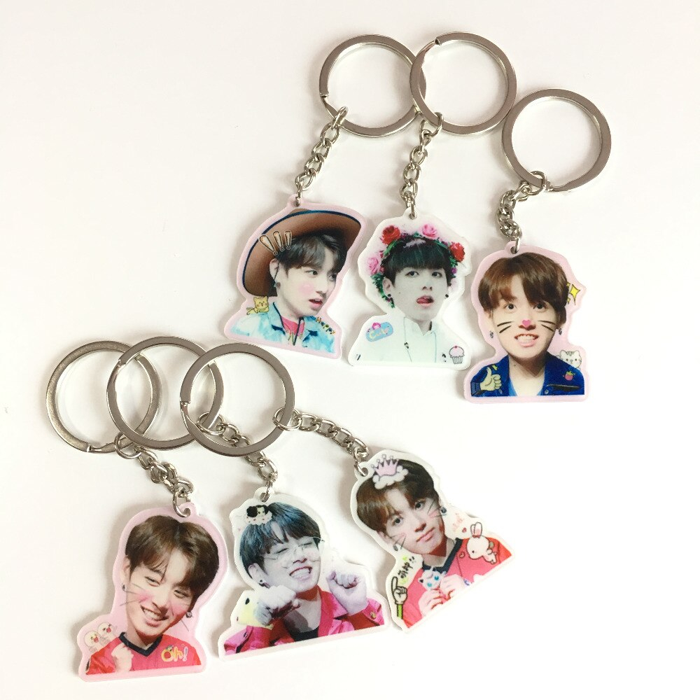 US 1 38 Kpop BTS Keychain Bulletproof Youth Group KOOK cute expression acrylic creative key ring pendant in Key Chains from Jewelry and Accessories on