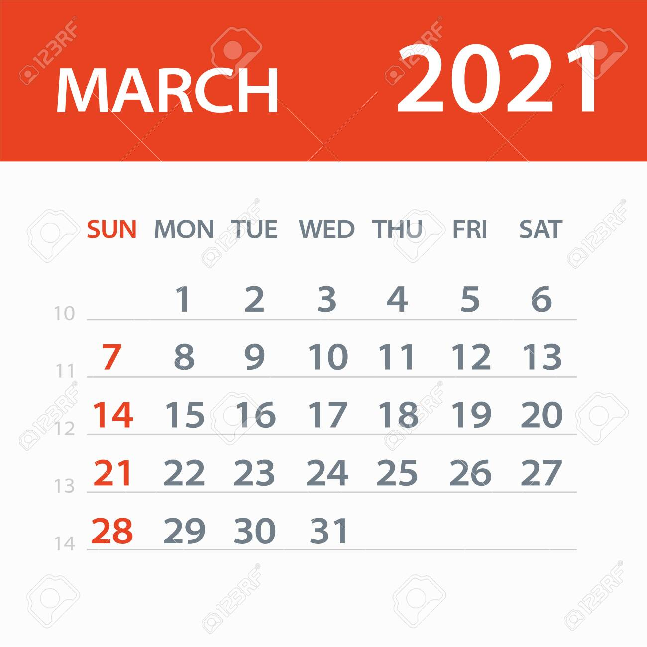photo stock vector march 2021 calendar leaf illustration vector graphic page