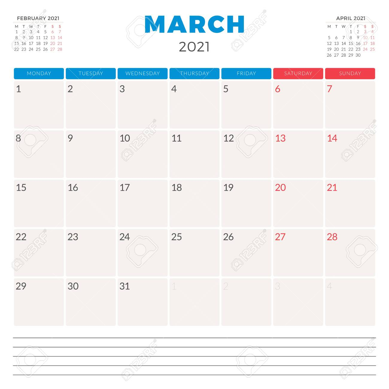 photo stock vector calendar planner for march 2021 week starts on monday printable vector stationery design template